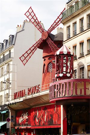 european bar building - Moulin Rouge, Pigalle, Paris, France Stock Photo - Rights-Managed, Code: 700-08059903