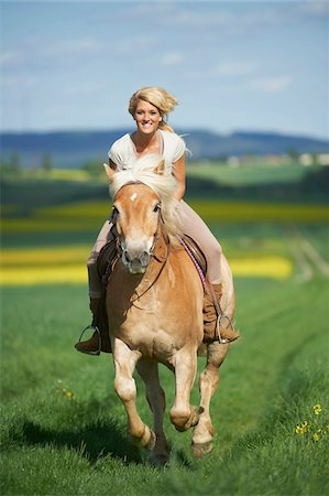 Young woman riding a Haflinger horse in spring, Bavaria, Germany Stock Photo - Rights-Managed, Code: 700-08080598
