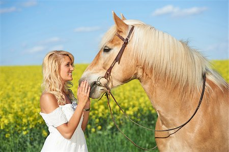 Young woman standing beside a haflinger horse in spring, Bavaria, Germany Stock Photo - Rights-Managed, Code: 700-08080591