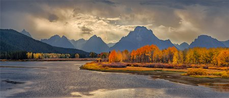 Oxbow Bend of Snake River with Mt Moran in Autumn, Jackson, Grand Teton National Park, Wyoming, USA Stock Photo - Rights-Managed, Code: 700-08082986