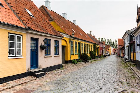 Colourful Houses in Cobblestone Alley, Aeroskobing, Aero Island, Jutland Peninsula, Region Syddanmark, Denmark Stock Photo - Rights-Managed, Code: 700-08103028