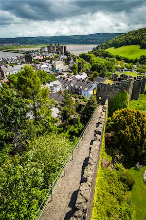 european hillside town - Town Walls, Conwy, Conwy County, Wales, United Kingdom Stock Photo - Rights-Managed, Code: 700-08122064