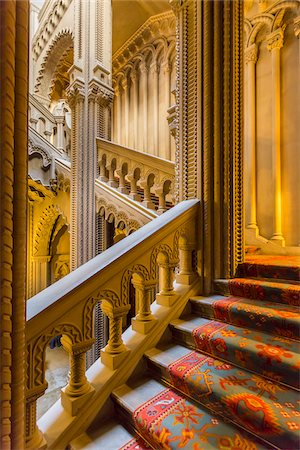 european (places and things) - Grand staircase, Penrhyn Castle, Llandegai, Bangor, Gwynedd, Wales, United Kingdom Stock Photo - Rights-Managed, Code: 700-08122087