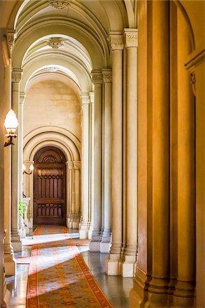 pillar - Hallway with arches, Penrhyn Castle, Llandegai, Bangor, Gwynedd, Wales, United Kingdom Stock Photo - Rights-Managed, Code: 700-08122090