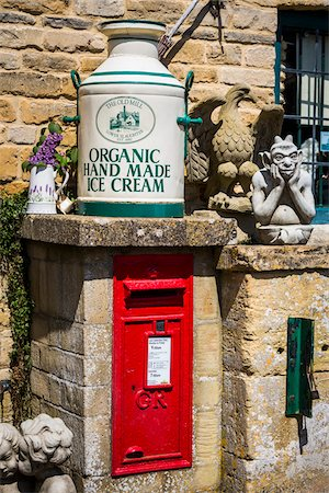 Close-up of mailbox and storefront display, Old Watermill gift shop, Lower Slaughter, Gloucestershire, The Cotswolds, England, United Kingdom Stock Photo - Rights-Managed, Code: 700-08122123