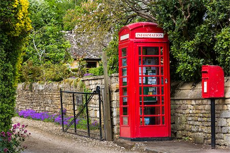 Phone box on street, Stanton, Gloucestershire, The Cotswolds, England, United Kingdom Fotografie stock - Rights-Managed, Codice: 700-08122149