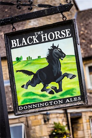 Close-up of sign for the Black Horse Inn, Naunton, Gloucestershire, The Cotswolds, England, United Kingdom Stock Photo - Rights-Managed, Code: 700-08122142