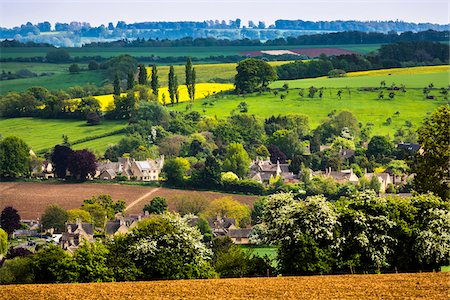 scenic view - Overview of countryside, Chipping Campden, Gloucestershire, The Cotswolds, England, United Kingdom Stock Photo - Rights-Managed, Code: 700-08122155