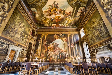 The Painted Hall at the Royal Naval College, Greenwich, London, England, United Kingdom Fotografie stock - Rights-Managed, Codice: 700-08145973