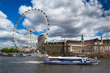 River Bus on Thames River and London Eye, London, England, United Kingdom Stock Photo - Rights-Managed, Code: 700-08146122