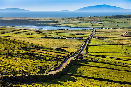 spring background - Road and scenic overview of farmland, Portmagee, along the Skellig Coast on the Ring of Kerry, County Kerry, Ireland Stock Photo - Rights-Managed, Code: 700-08146396