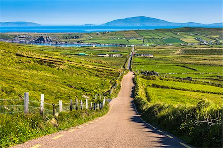 Road and scenic overview, Portmagee along the Skellig Coast on the Ring of Kerry, County Kerry, Ireland Stock Photo - Rights-Managed, Code: 700-08146400