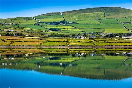 Scenic view of farmland and coast, Valentia Island, along the Skellig Coast on the Ring of Kerry, County Kerry, Ireland Stock Photo - Rights-Managed, Code: 700-08146423