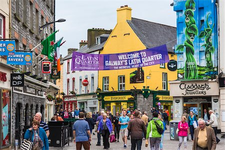 Street scene with pedestrians and stores, Galway, Ireland Stock Photo - Rights-Managed, Code: 700-08146470