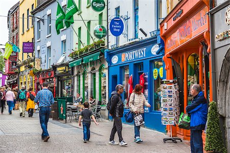 Street scene with pedestrians and stores, Galway, Ireland Stock Photo - Rights-Managed, Code: 700-08146471