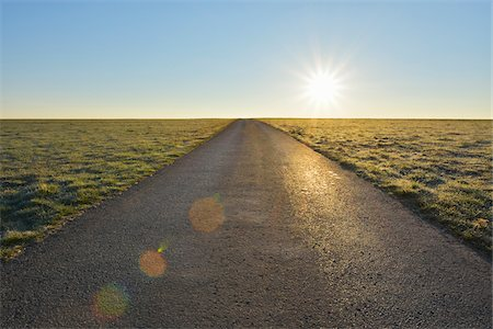 Road with Sun in the Morning, Spring, Gottersdorf, Neckar-Odenwald-District, Odenwald, Baden Wurttemberg, Germany Stock Photo - Rights-Managed, Code: 700-08146498