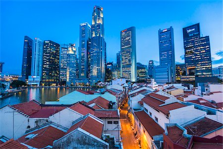 Boat Quay and Skyline at Dusk, Central Region, Singapore Stock Photo - Rights-Managed, Code: 700-08167184