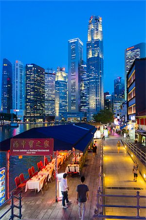 Restaurants and Bars along Boat Quay beneath Skyline at Dusk, Central Region, Singapore Stock Photo - Rights-Managed, Code: 700-08167185