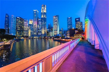 Elgin Bridge over Singapore River with Skyline at Dusk, Central Region, Singapore Stock Photo - Rights-Managed, Code: 700-08167187