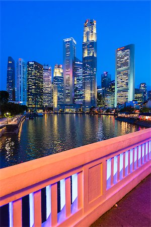 Elgin Bridge over Singapore River with Skyline at Dusk, Central Region, Singapore Stock Photo - Rights-Managed, Code: 700-08167188