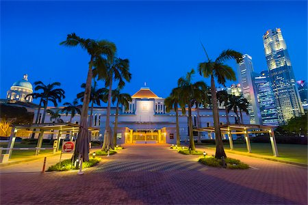 Parliament House and Skyline at Night, Central Region, Singapore Stock Photo - Rights-Managed, Code: 700-08167189