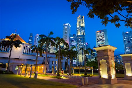 Parliament House and Skyline at Night, Central Region, Singapore Stock Photo - Rights-Managed, Code: 700-08167190