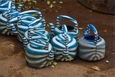 patterned - Close-up of iconic, striped, plastic kettles, used for drinking water or for washing, Ouagadougou, Burkina Faso Stock Photo - Rights-Managed, Code: 700-08171610
