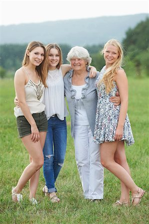 Portrait of Grandmother with Granddaughters Outdoors, Bavaria, Germany Stock Photo - Rights-Managed, Code: 700-08209750