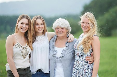 Portrait of Grandmother with Granddaughters Outdoors, Bavaria, Germany Stock Photo - Rights-Managed, Code: 700-08209751