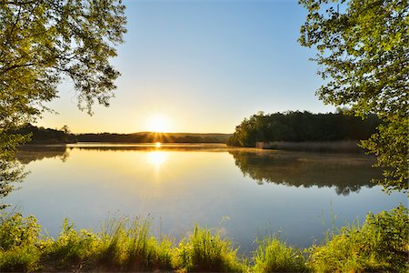 streams scenic nobody - Sunrise on the shoreline with Trees on a Lake, Niedernberg, Miltenberg-District, Churfranken, Franconia, Bavaria, Germany Stock Photo - Rights-Managed, Code: 700-08225306