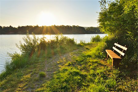 streams scenic nobody - Pathway along Shoreline at Sunrise with Bench, Niedernberg, Miltenberg-District, Churfranken, Franconia, Bavaria, Germany Stock Photo - Rights-Managed, Code: 700-08225312