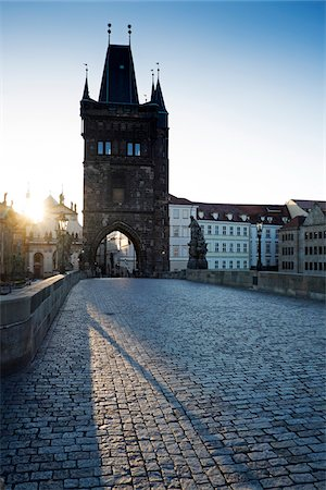 Charles Bridge with Old Town Bridge Tower and sun, Prague, Czech Republic. Stock Photo - Rights-Managed, Code: 700-08232187