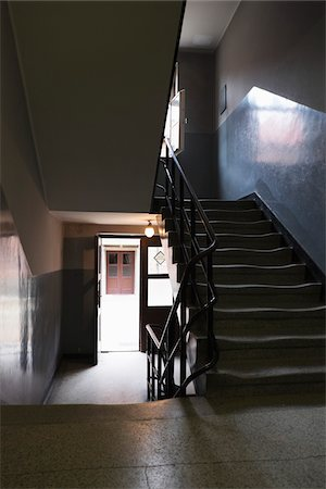Interior of building with staircase, Auschwitz, Poland Stock Photo - Rights-Managed, Code: 700-08232192