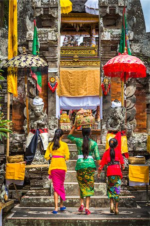People carrying religious offerings, Temple Festival, Petulu, near Ubud, Bali, Indonesia Stock Photo - Rights-Managed, Code: 700-08385837