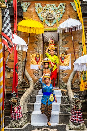 People carrying religious offerings, Temple Festival, Petulu, near Ubud, Bali, Indonesia Stock Photo - Rights-Managed, Code: 700-08385838