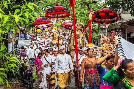 Procession at a temple festival, Petulu, near Ubud, Bali, Indonesia Stock Photo - Rights-Managed, Code: 700-08385859