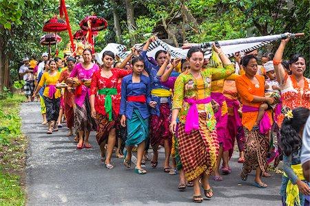 Procession at a temple festival, Petulu, near Ubud, Bali, Indonesia Stock Photo - Rights-Managed, Code: 700-08385860