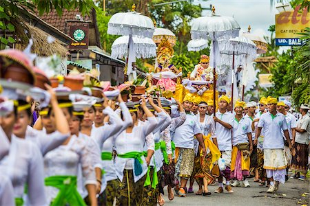 People in a parade at a cremation ceremony for a high priest in Ubud, Bali, Indonesia Stock Photo - Rights-Managed, Code: 700-08385895