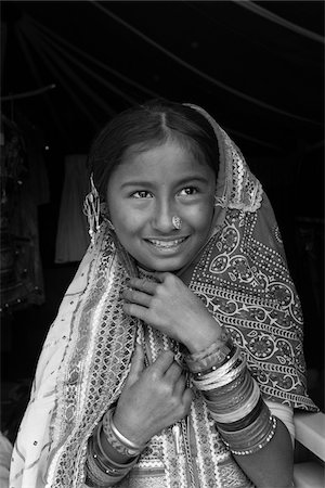 Kutchi Nomadic Girl Dressed in Traditional Costume, Kutch District, Gujarat, India Stock Photo - Rights-Managed, Code: 700-08386167