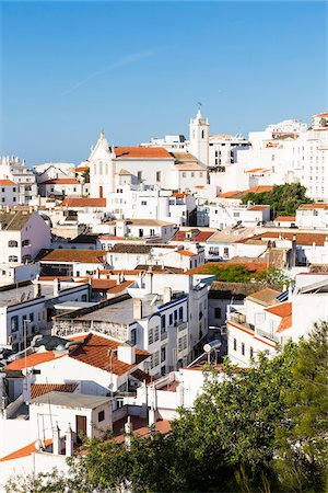 portugal - White Washed Buildings and Parish Church in Old Town of Albufeira, Algarve, Portugal Stock Photo - Rights-Managed, Code: 700-08416674