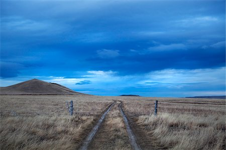 Scenic view with ruts on a ranch road passing through a fence in Montana, USA Stock Photo - Rights-Managed, Code: 700-08421755