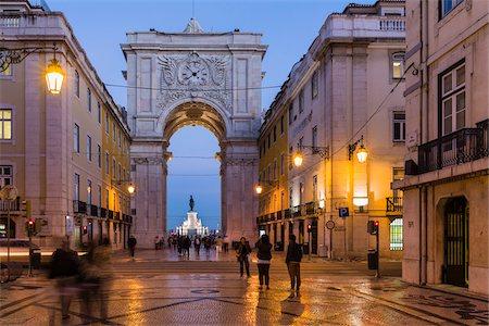 Rua Augusta Arch (Arco Triunfal), Praca do Comercio at dusk, Baixa District, Lisbon, Portugal Stock Photo - Rights-Managed, Code: 700-08519548