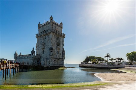 portuguese (places and things) - Torre de Belem on the Tejo River, an important example of Manueline architecture, UNESCO World Heritage Site, Belem, Lisbon, Portugal Stock Photo - Rights-Managed, Code: 700-08519576