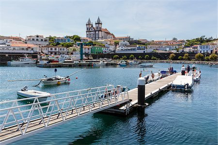 Dock and fishing harbour with Church of Sao Mateus da Calheta, Sao Mateus da Calheta, Terceira Island, Azores, Portugal Stock Photo - Rights-Managed, Code: 700-08540024