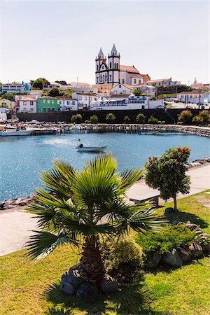 View above the fishing harbour with Church of Sao Mateus da Calheta, Sao Mateus da Calheta, Terceira Island, Azores, Portugal Stock Photo - Rights-Managed, Code: 700-08540022