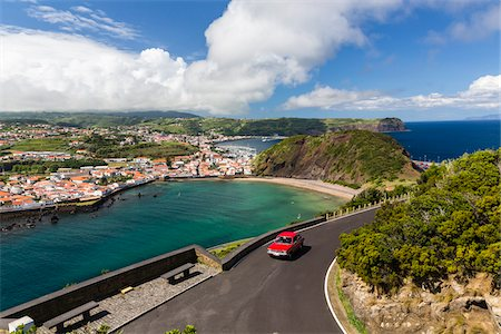 Elevated view of Horta and Monte Queimado, Faial Island, Azores, Portugal Stock Photo - Rights-Managed, Code: 700-08540114