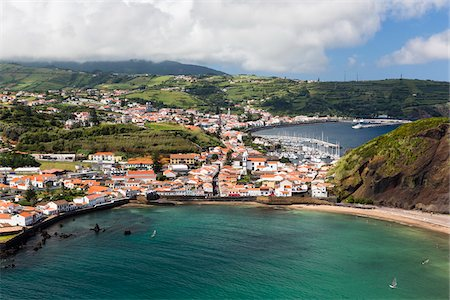 Elevated view of Horta and Monte Queimado, Faial Island, Azores, Portugal Stock Photo - Rights-Managed, Code: 700-08540115