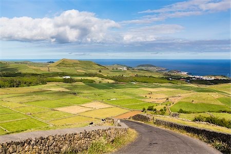 Elevated view of patterns of the agricultural landscape, Serra da Ribeirinha, Angra do Heroismo, Terceira Island, Azores, Portugal Stock Photo - Rights-Managed, Code: 700-08567240