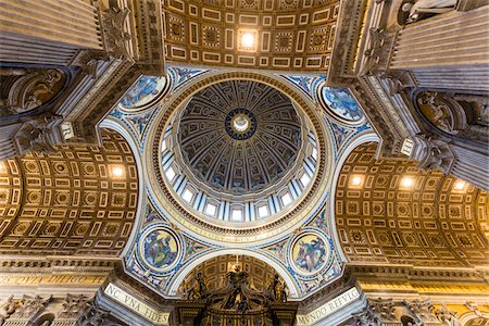 St Peter's Cathedral interior, view of domed ceiling, Vatican City, Rome, Italy Stock Photo - Rights-Managed, Code: 700-08567276