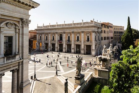 Statues of Castor and Pollux and Palazzo dei Conservatori at Piazza del Campidoglio, Capitolini Museum, Capitoline Hill, Rome, Italy Stock Photo - Rights-Managed, Code: 700-08576097